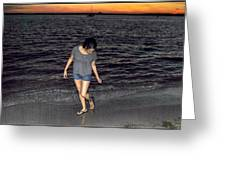 008 A Sunset With Eyes That Smile Soothing Sounds Of Waves For Miles Portrait Series Greeting Card