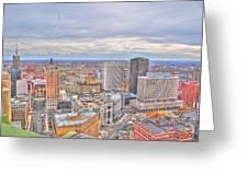 037 Series Of Buffalo Ny Via Birds Eye Downtown Buffalo Greeting Card