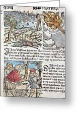 1557 Lycosthenes Rain Of Stones Meteorite Greeting Card