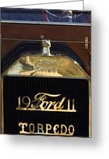 1911 Ford Model T Torpedo Hood Ornament Greeting Card by Jill Reger