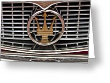 1960 Maserati 3500 Gt Coupe Emblem Greeting Card