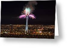 2011 New Year's Fireworks - The Stratosphere Greeting Card