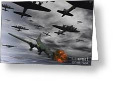 A B-17 Flying Fortress Is Set Ablaze Greeting Card