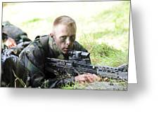 A British Soldier Armed With A Sa80 Greeting Card