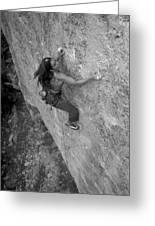 A Caucasian Women Rock Climbing Greeting Card