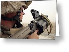 A Marine Aims In With A M-32 Multiple Greeting Card