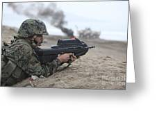 A Peruvian Marine Assaults A Beach Greeting Card