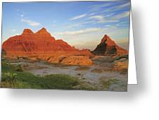 A Red Sunrise Illuminates The Hills In Greeting Card