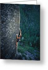 A Rock Climber In Montanas Hyalite Greeting Card