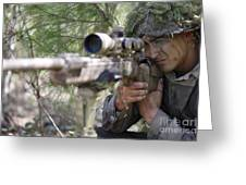 A Sniper Sights In On A Target Greeting Card