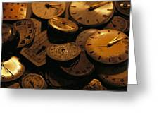 A Still Life Of Old Watch Faces Greeting Card