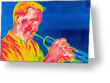 A Thermogram Of A Musician Playing Greeting Card