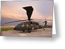 A Uh-60l Black Hawk Medevac Helicopter Greeting Card