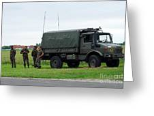 A Unimog Vehicle Of The Belgian Army Greeting Card