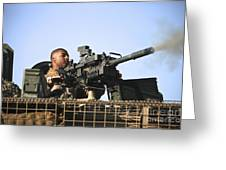A U.s. Marine Fires A Gmg Automatic Greeting Card