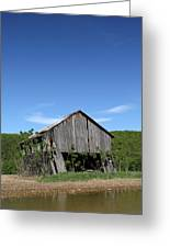 Abandoned Old Farm Building With Blue Sky Greeting Card