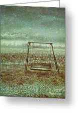 Abandoned  Swing In First Snow Storm Of Winter Greeting Card by Sandra Cunningham
