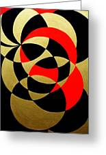 Abstract In Gold Black And Red Greeting Card