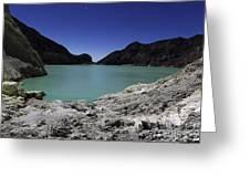 Acidic Crater Lake On Kawah Ijen Greeting Card