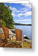 Adirondack Chairs At Lake Shore Greeting Card