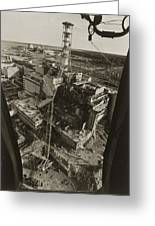 Aerial View Of Chernobyl Soon After The Accident. Greeting Card