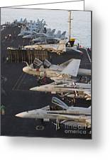 Aircraft Parked On The Flight Deck Greeting Card