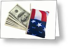 American Flag Wallet With 100 Dollar Bills Greeting Card