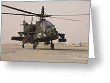 An Ah-64 Apache Helicopter Taxiing Greeting Card
