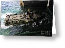 An Amphibious Assault Vehicle Enters Greeting Card