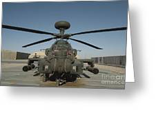 An Apache Helicopter At Camp Bastion Greeting Card