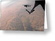 An F-15e Strike Eagle Is Refueled Greeting Card