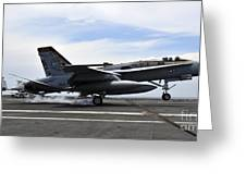 An Fa-18c Hornet Lands Aboard Greeting Card