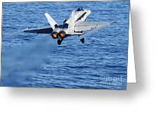 An Fa-18c Hornet Taking Off Greeting Card