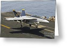 An Fa-18e Super Hornet Trap Landing Greeting Card