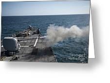 An Mk-45 Lightweight Gun Is Fired Greeting Card
