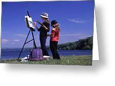 Artist Painting Cayuga Lake Greeting Card