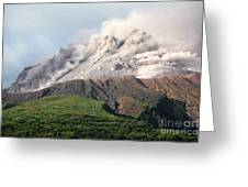 Ash And Gas Rising From Lava Dome Greeting Card
