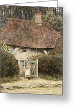At The Cottage Gate Greeting Card