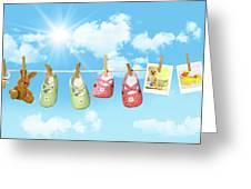 Baby Shoes And Teddy Bear On Clothline Greeting Card by Sandra Cunningham