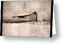 Barn In Snow Greeting Card