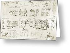 Baseball Cartoons, 1859 Greeting Card