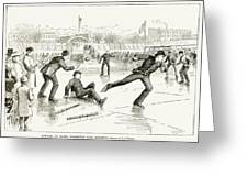 Baseball On Ice, 1884 Greeting Card