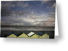 Beach Huts Under A Stormy Sky Vintage-look. Normandy. France Greeting Card