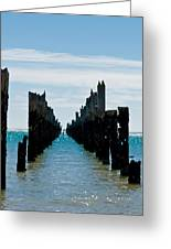 Beautiful Rotten Mooring On A Beach Where Only The Pillars Are L Greeting Card