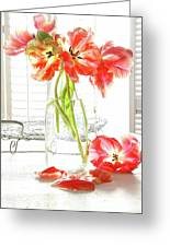 Beautiful Tulips In Old Milk Bottle  Greeting Card