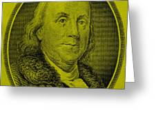 Ben Franklin In Yellow Greeting Card