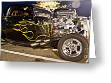 Black Hot Rod Big Engine Greeting Card