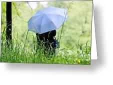 Blue Umbrella Greeting Card