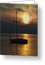 Boat In Sunset Greeting Card