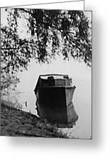 Boat On Foggy Rhine Greeting Card